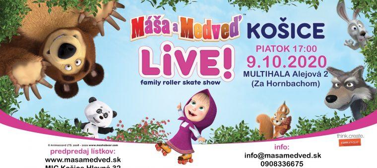 Máša a Medveď LIVE! - family roller skate show Košice Multihala